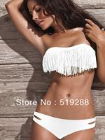 Fashion Hot Sale Victoria Beauty Women Tassel sex Fringe Top Strapless Bikini set Sexy Swimsuit Top and Bottoms Swimwear