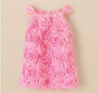 Lovely baby girls pink rose flower lace sundress kids sleeveless dress jumper dress clothing free shipping