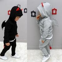 Kids' suits boys and girls sports and leisure suit jacket + pants little devil ears tail bat wings children suit children suit