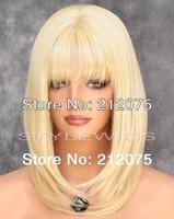 Top Selling Medium  Hair  Heat Safe Wig  Blonde color*Fashion women wigs*