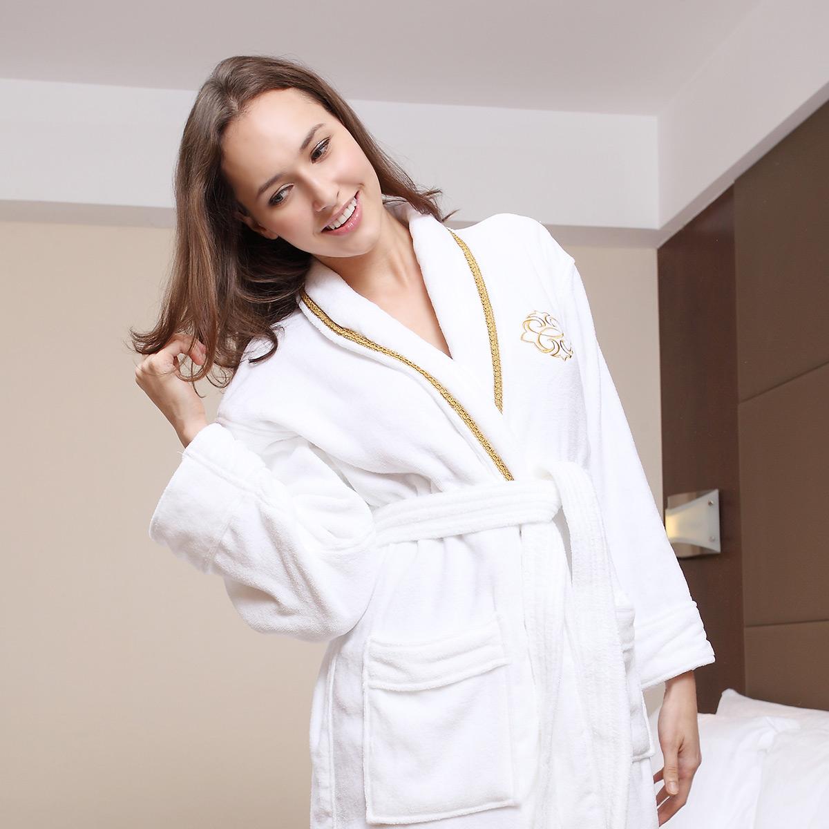 free shipping thickening bathrobes 100% toweled cotton robe hotel supplies bath robes(China (Mainland))