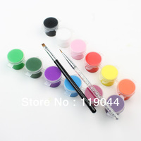 12 Color 3D Nail Art Paint Painting Nail Tip + 2pcs Nail Pen Brush Set NA373