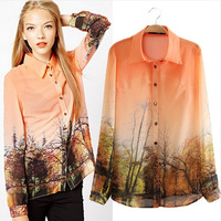 CS0671 fashion vintage Orange gradient forest plots print long sleeve loose chiffon casual blouse women european style