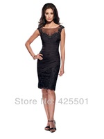 Mother Of The Bride Dresses Knee-Length 2014 Cap Sleeve Elegant Lace Evening Dress Women