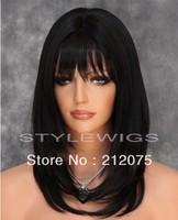 Mix Medium Length HEAT SAFE Hair Wig Black color*Fashion women wigs*