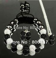 free shipping sale shamballa jewelry set,matching shamballa bracelet,stud earring+pendent shamballa set  jewelry White Black