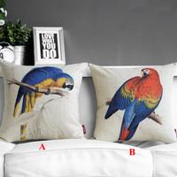 "Kim Store! American Country Birds Linen Home Decorative Cushion, Throw Pillow Lumbar Pillow 17""*17"" (with filler)"