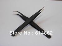 2 Pcs Nonmagnetic Stainless Steel Curved Straight Tweezers,High quality eyelash tweezers,Eyelash tools,Multi-purpose tweezers