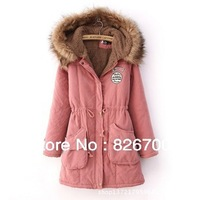 Fashion Winter Womens Lady Casual Faux Fur Fleece Lined Jacket Solid Color Active Military Parka Coat Anorak Overcoat A0092