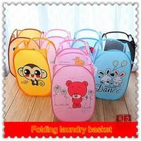 Cartoon Animal Folding Laundry Basket,Nylon Fabric Dirty Clothes Basket Clothing Toy Basket For Toys Sundries Storage Bucket