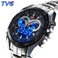 Hight Quality Stainless Steel TVG Fashion Black Men's Clock Digital Sports LED Watch for Men 30AM Waterproof Watches for men