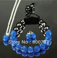 clay shamballa set with pendant+bracelet+stud earrings girls jewelrys sets 2014 shamballa jewellery new year gift free shipping