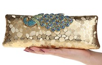 2014 new year gift  Diamond Alloy Peacock Pattern hasp Clutch Evening Bag. Boutique Women Velvet Chain Shoulder Bag. Multi-color