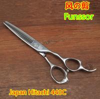 Professional hair cut scissors/shears Japan Hitachi 440C 6.0 inches teeth thinning teeth:30 3 D ergonomics handle top quality
