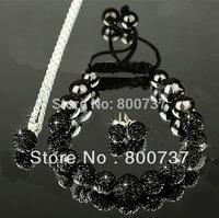 Black crystal ball shamballa jewelry set stud shamballa earring+shamballa bracelet+shambala necklace set fashion jewelry set