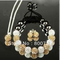 free shipping,new shamballa jewelry set,shamballa khaki pendant+stud earring+shamballa  crystal bracelet for women