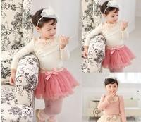 Girls bow Hubble bubble sleeve pearl skirt suit  t shirt + skirt  2 color 5pcs/lot