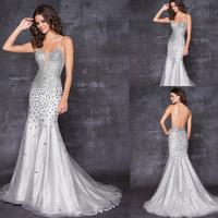 Sivler Grey Bare Back Spaghetti Straps Heavy Beaded Tulle And Satin Elegant Full Figure Evening Dresses