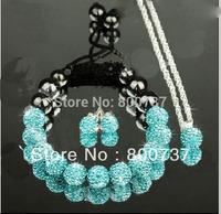 free shipping, classical shamballa jewelry sets! pendant+ crystal bracelet+turquoise stud earrings Shambala jewellery set women