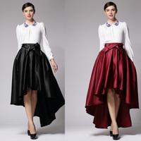 2014 Fashion Women's Low-high Length Designer Half-skirt, Elegant Bow Decorated Pleated Skirt