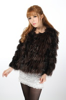 2013 winter women's fashion peacock fur coat short outerwear design