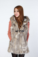 Fashionable casual hooded fox finelines gradient faux female vest