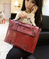 High quality women's leather handbag briefcase with rivet shape handbag OL ladies bag work salaryman phone ipad