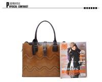 High quality women's leather handbag wave pattern shape handbag lash OL ladies bag work salaryman phone ipad