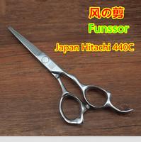 Professional hair cut scissors/shears flat cutting Japan Hitachi 440C 6.0 inches  3 D ergonomics handle top quality