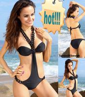 Women New Sexy Monokini Fashion Bathing Swimwear Black Bikini With Chunky Chain