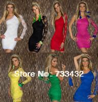 New 2014 7 Colors Bandage Dress Sexy Lace Long Sleeve One Shoulder Bodycon Dress Women Club Party Dress S M L XL XXL