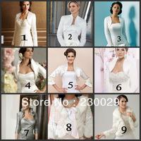 Free Shipping White Or Ivory Satin Wedding Bridal Bolero Jacket With Beads Decorations Free Size or Cumtomized Low Price BG046