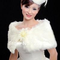 Free Shipping White Or Ivory Satin Wedding Bridal Bolero Jacket With Flowers Decorations Free Size Low Price BG048