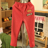2013 children's autumn and winter clothing thickening velvet child baby female child casual pants long trousers t0130