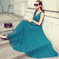 Free shipping!2014 Casual summer fashion women Ultralarge  mop full elegant noble sleeveless chiffon high street dress CA520