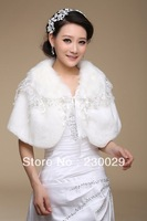 Free Shipping White Or Ivory Wools Wedding Brides Bolero Jacket Free Size Low Price BG052
