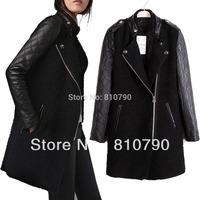 Women's Synthetic Leather Winter Jacket Woolen Blend Outwear Coat Patchwork Overcoat New 1pcs/lot Free Shipping