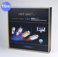 10pcs /lots High-end flat Type Red 10M 32FT HDMI with Packaging Ethernet HDMI Male to Male Cable 1.4 V 3D 1080P 4K*2K HDMI Cable