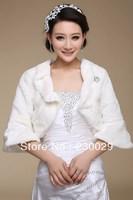 Free Shipping White Or Ivory Wools Wedding Brides Bolero Jacket With Sleeves Free Size Low Price BG058