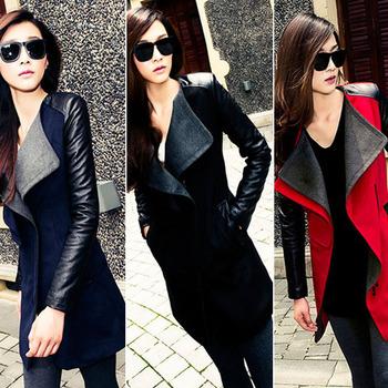 Высокое качество Осень Зима Новый In Черный темно-синий красный Контрастность искусственная ...