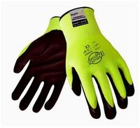 Hiv-viz nitrile palm coated cut resistant  gloves,abrasion resistant super fiber knitted safety gloves M-XL sizes12308