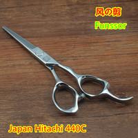 Professional hair cut scissors/shears flat cutting Japan Hitachi 440C 5.5 inches  3 D ergonomics handle top quality