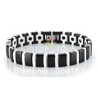 Mens Energy Power Snake Bracelet High-Tech Black & White Ceramic Hematite Magnetic