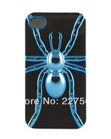 Shiny Chrome Plating Spider Case with TPU Case Modeling Art Case Cover 10pcs/lot for iPhone 4 4S-New Arrive