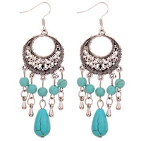 Unique Design Silver Flower Pattern Dangle Turquoise Beads Alloy Earrings