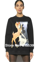 2014 Givency Animal DEER Bambi Print Sweatshirts Sweater Pullovers For Women Ladies Hoodies Tops Plus Size S-XXL Black/White