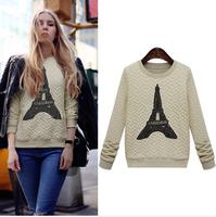 Free Shipping 2014 New Women Pullover Hoodies Paris Tower Print Long Sleeve Women Sweatshirt Casual Hoody Black/Beige LBR5338