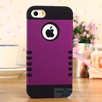 3-Piece Hybrid High Impact Tough Hard Heavy Duty Case Cover For iPhone 5 5S 5C Purple case + Pen A148-P