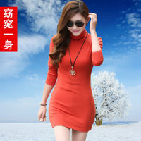 Women autumn and winter slim sexy turtleneck t-shirt basic shirt female long sleeve length