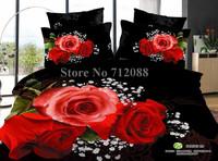 Wholesale,home textile 4pcs full/queen bedlinen quilt duvet covers red romantic rose flower patter black bed sheets bedding set